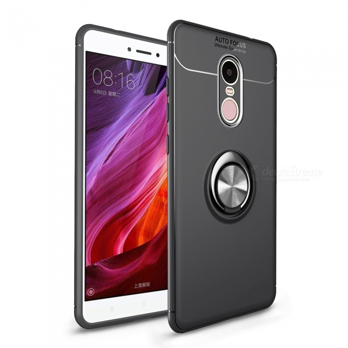 ZHAOYAO Soft TPU Protective Back Cover Case with Ring Stand for Xiaomi Redmi Note 4X - Black