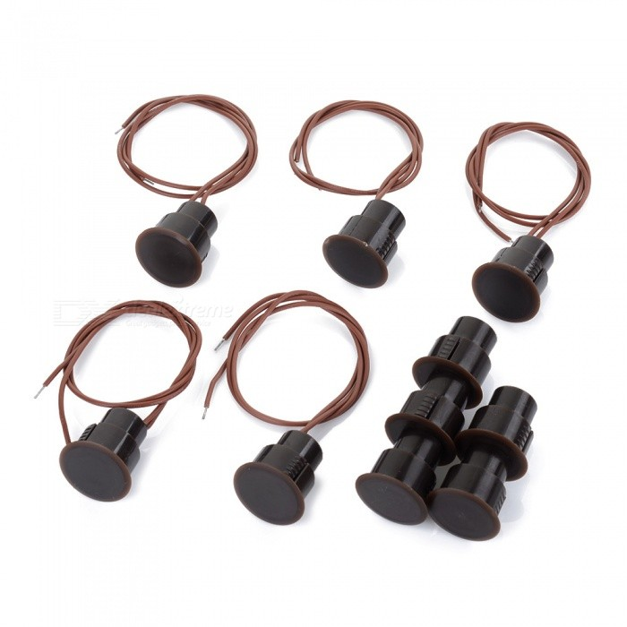 RC-36 5PCS Wired Door Magnetic Reed Switches Normally Closed Anti-theft Alarms Set - Black + Coffee