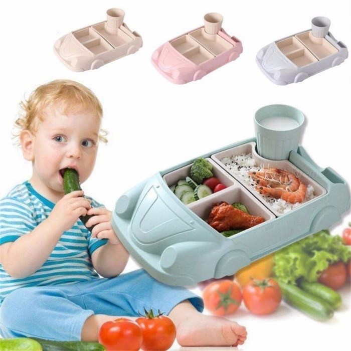 Baby Food Containers Bamboo Fiber Training Dishes Baby Feeding Set Car Shape Bowl Cup Plate Sets Children Tableware