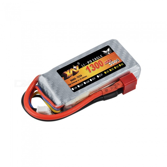 XW Power 7.4V 1300mAh 70C Rechargeable Lipo Battery w/ T Plug for RC Remote Control Helicopter Quadcopter Drone