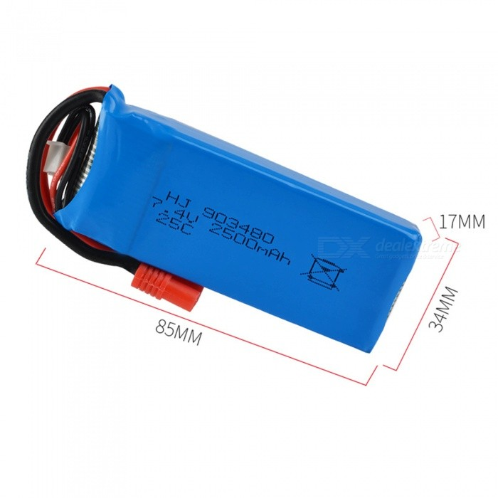 7.4V 25C 2500mAh Banana Plug High Lipo Battery for X8C X8W X8G HUANQI 899 RC Remote Control Helicopter Quadcopter Drone