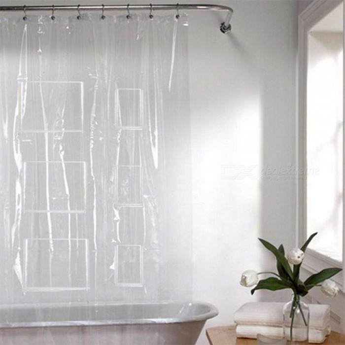 Transparent Shower Curtain With Pockets Bath Curtains Phone Tablet Holder Clear For Touchscreen Devices Bathroom