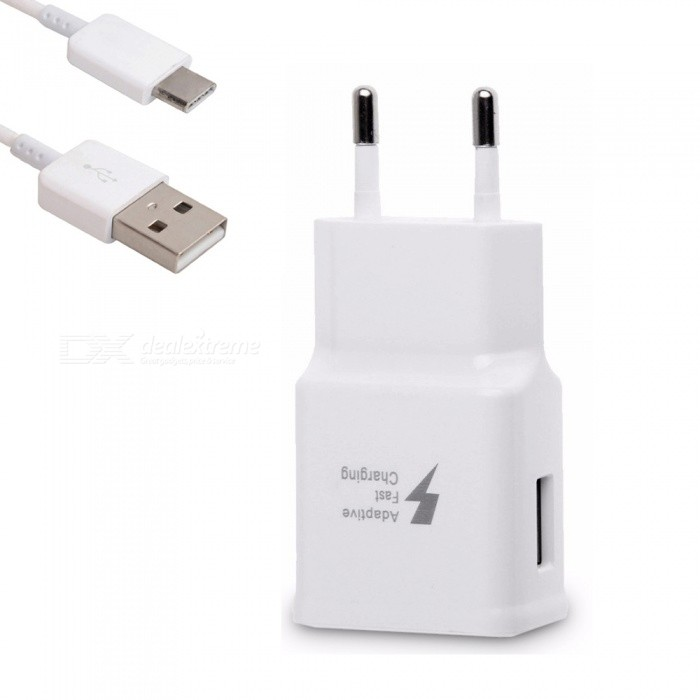 Quick Fast EU Plug Travel Charger Wall Adapter + USB Type-C Charging Cable for Samsung S9 / S8 / Note8 / S8 Plus