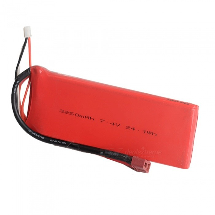 1PC 7.4V 3250mAh T Plug HUANQI 727 High Lipo Battery for RC Remote Control Helicopter Quadcopter Drone Part - Red