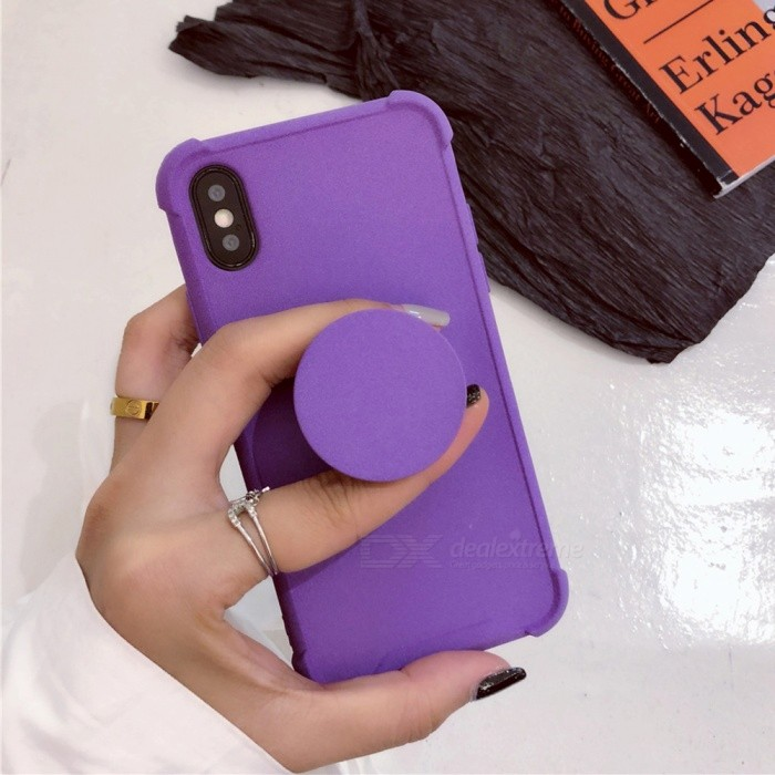 Cooho Solid Color Shockproof Fashion Protective TPU Back Case with Holder for IPHONE X - Purple