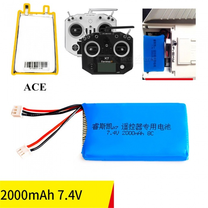 1Pcs 7.4V 8C 2000mAh for Frsky Taranis Q X7 Transmitter RC Remote Control High Lipo Battery Helicopter Quadcopter - Blue