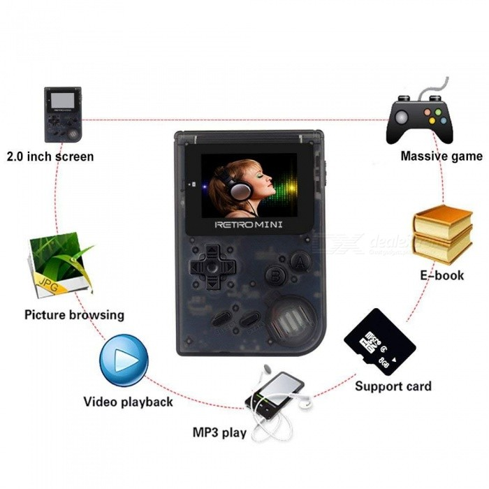 Image of Retro Game Console 32 Bit Portable Mini Handheld Game Players Built-in 940 for GBA Classic Games - Black