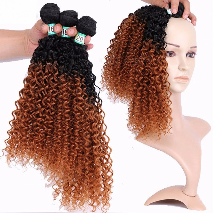 Jerry Curly Synthetic Hair Bundles 100 High Temperature Fibers Hair