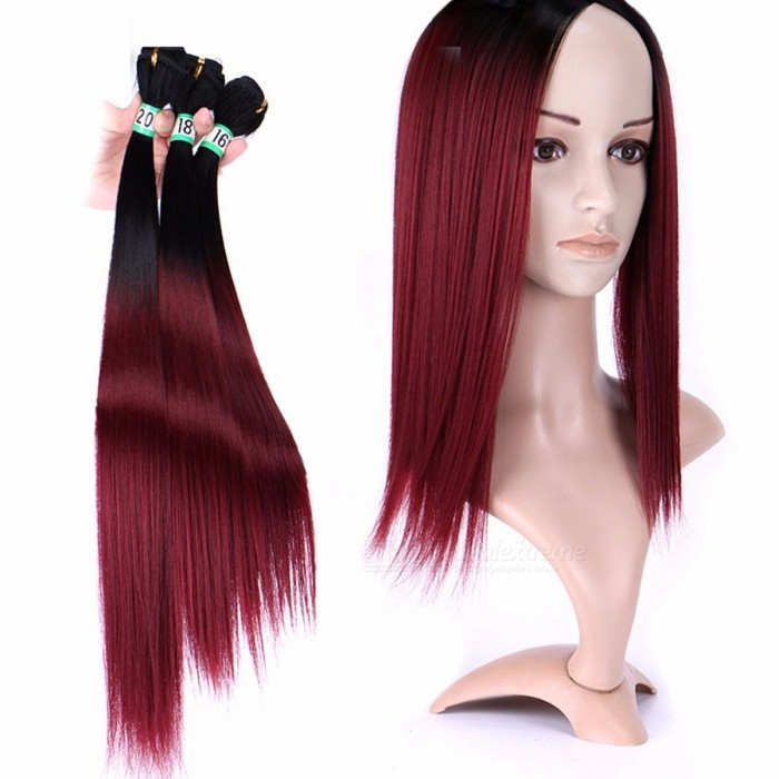 Synthetic-Straight-Hair-Bundles-10025-High-Temperature-Fibers-Hair-Extensions-T1B99j-3-Bundles-Set-T1B99j16-inches