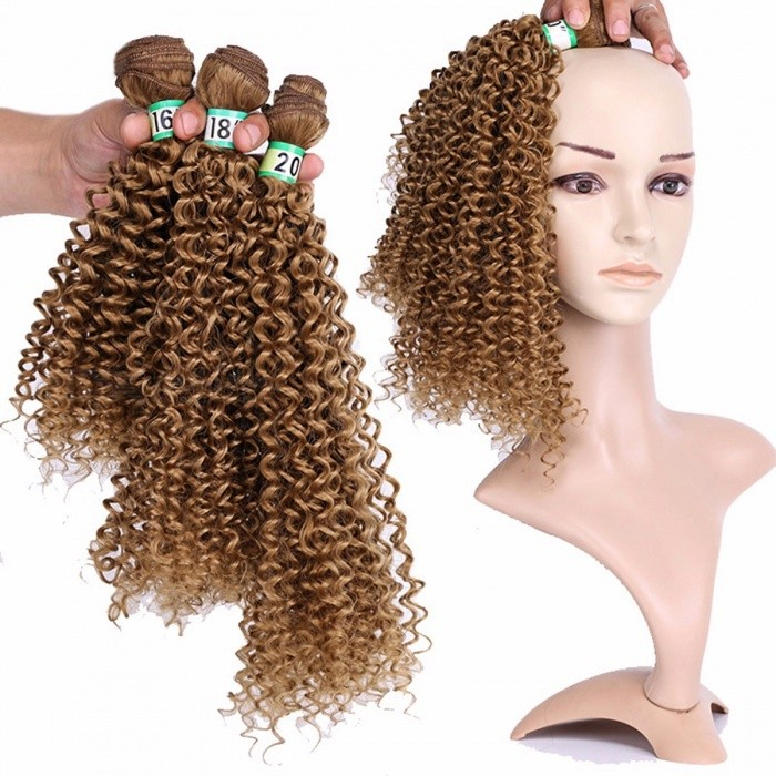 haarbundels 100% hoge temperatuur vezels haarextensies 27 # CURLY 3 bundels set # 27/16 inches