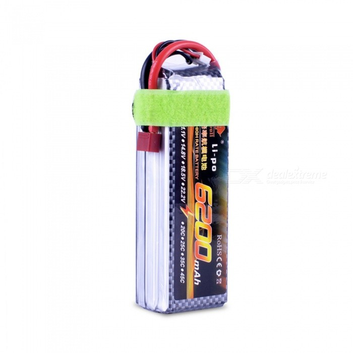 11.1V 30C 6200mAh T Plug F450 High Lipo Battery Remote Control Helicopter Quadcopter Drone Part - Silver