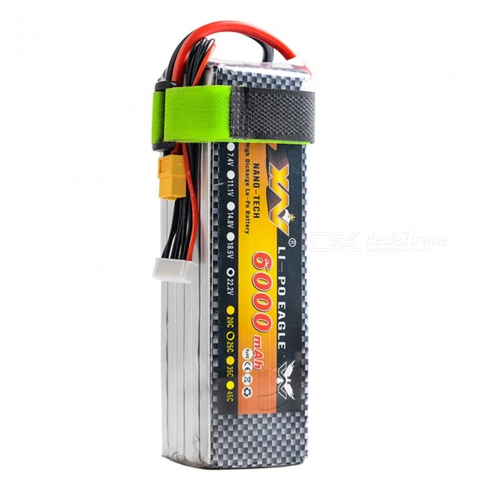 XW POWER 1PC 22.2V 6000mAh XT60 Plug High Redzone Lipo Battery Remote Control Helicopter Quadcopter Drone Part - Silver