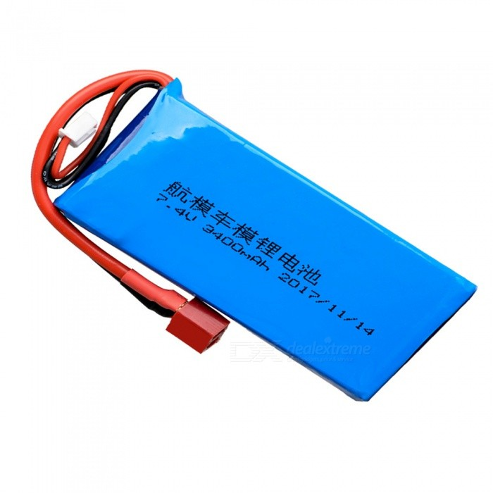 1PC 7.4V 20C 3400mAh T Plug High Lipo Battery for RC Remote Control Helicopter Quadcopter - Blue