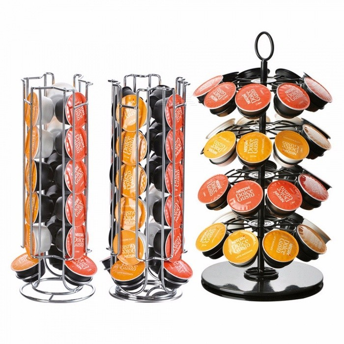 Rotatable Coffee Capsule Holder Stand Tower Rack, Nescafe Dolce Gusto Iron Plating Coffee Pod Storage Shelves
