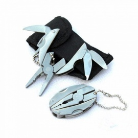 Pocket Multitool Plier, Outdoor Mini Portable Folding Muilti-functional Plier Clamp Keychain Hiking Camping Tool Silver
