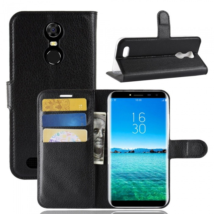 Naxtop Phone Wallet Flip Leather Holder Cover Case for Oukitel C8 - Black
