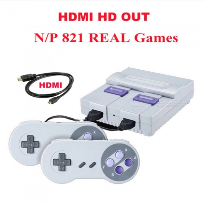 HDMI Out Retro Classic Mini Game Console with 821 Different Games, Built-in Dual Gamepad - EU Plug
