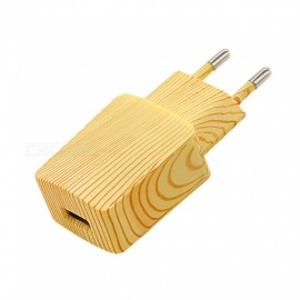 Single USB Wooden Phone Charger, Power Adapter - EU Plug