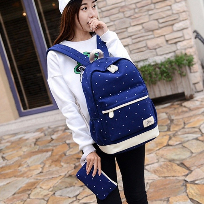 Teenager Student Backpacks Three Pieces Large-capacity Canvas Simple Polka Dot Lace Decoration Rucksack Women Backpack