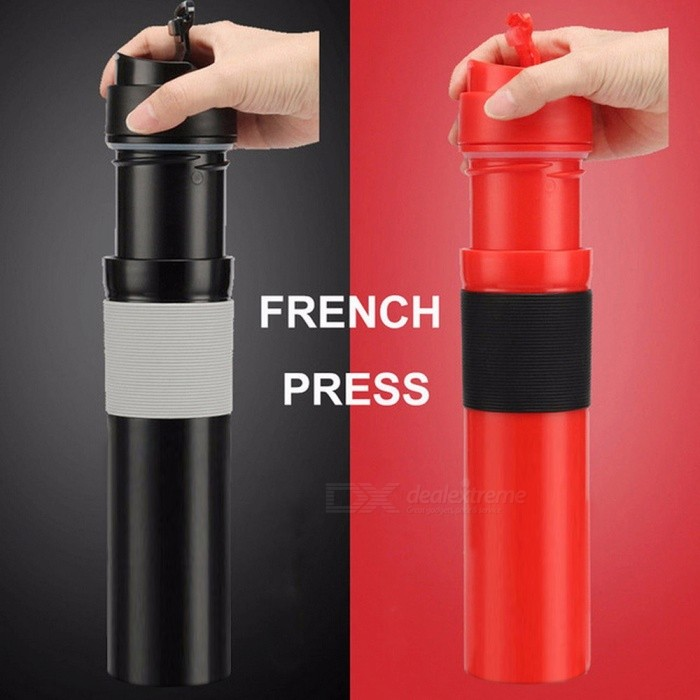 300ml Portable French Press Coffee Maker Stainless Steel Double Wall Mug Filtration Water Isolation Tea Coffee Cup Black