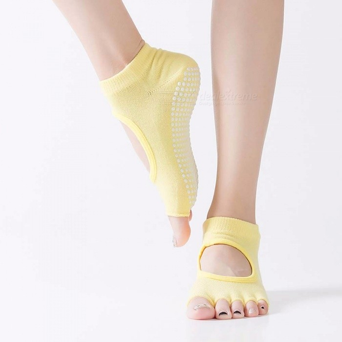 Manufacturers Non-slip Yoga Socks Dig Hole Cotton Five-finger Womens Socks Silicone Leather Padded Open Toe Socks Yellow