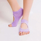 Manufacturers Non-slip Yoga Socks Dig Hole Cotton Five-finger Womens Socks Silicone Leather Padded Open Toe Socks Purple