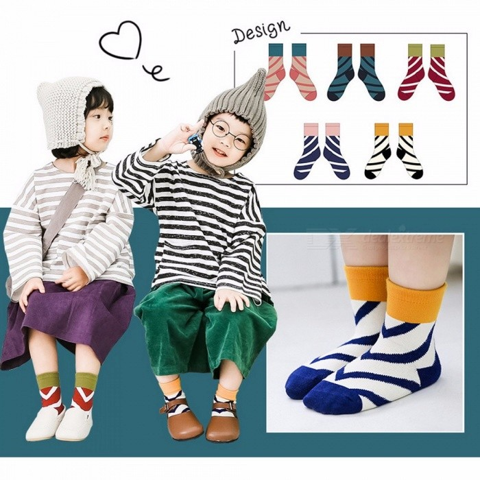 Cotton Diagonal Stripes Patchwork Color Baby Kids Children Socks For 1-12 Years Old Girls Boys (5 Pairs) Random Color