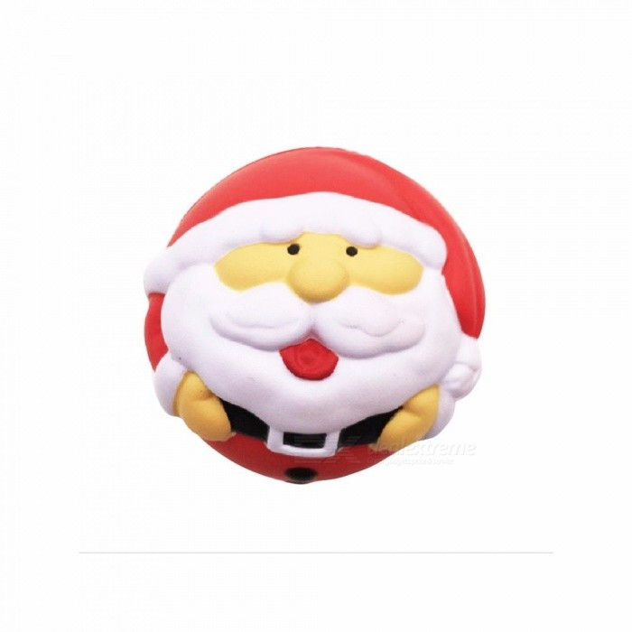 6.5cm Round Christmas Santa Claus Finger Squishy PU Slow Rising Squeeze Toy, Stress Relief Toy For Children Adults Red