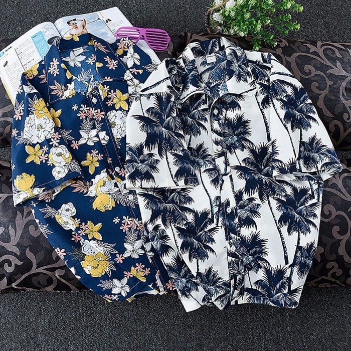 Men Fashion Summer Leaves Flower Print Loose Short Sleeve Shirt, Male Hawaiian Style Beach Shirt Blue/S