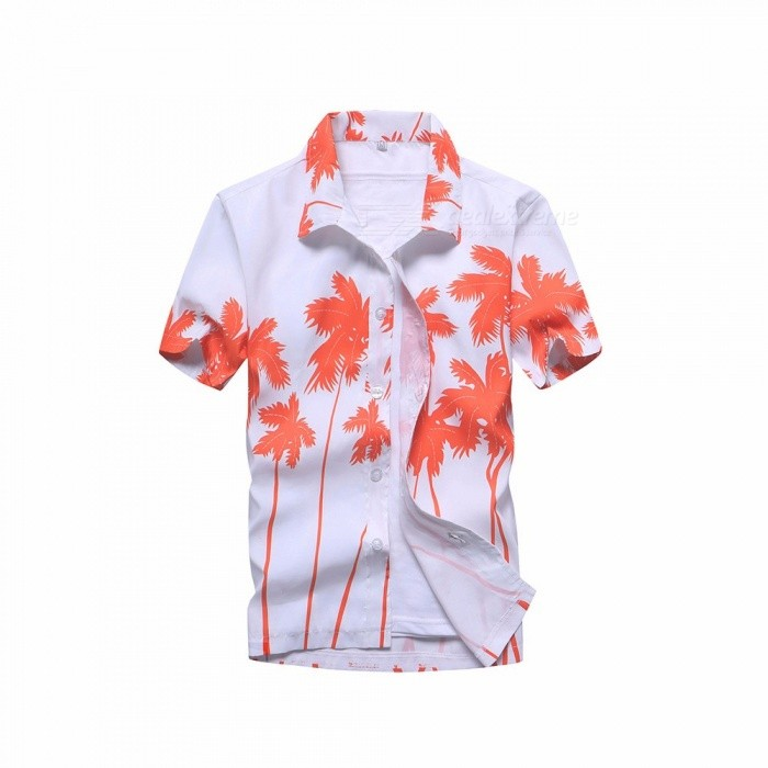 Coconut Tree Printing Loose Shirt, Casual Quick Dry Short Sleeve Men\'s Shirt, Beach Tops Clothes Clothing Blue/S