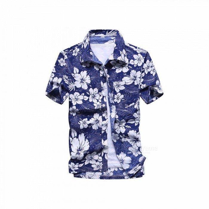 Fashion Flower Printing Loose Shirt, Casual Quick Dry Short Sleeve Men's Shirt, Beach Tops Clothes Clothing Blue