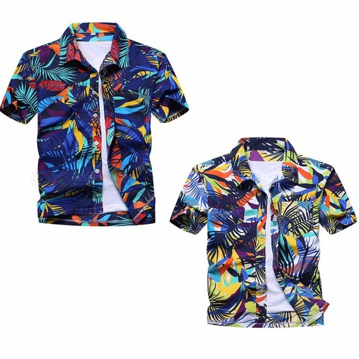 Summer Fashion Leaves Printing Loose Shirt, Casual Quick Dry Short Sleeve Men\'s Shirt, Beach Tops Clothes Clothing Blue/S