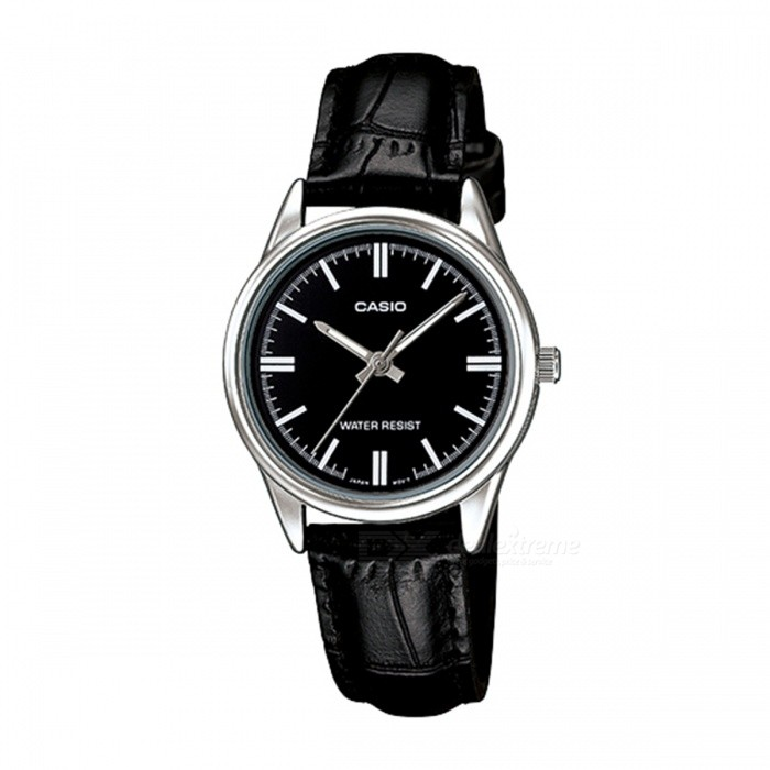 Casio LTP-V005L-1A Stainless Steel Leather Band Analog Watch-Black(Without Box)