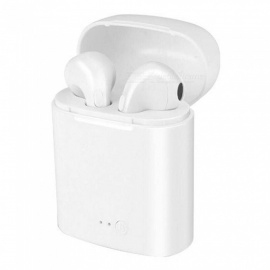 QooK i7 Mini Wireless TWS Sports Stereo Bluetooth Headsets with Charging Box - White