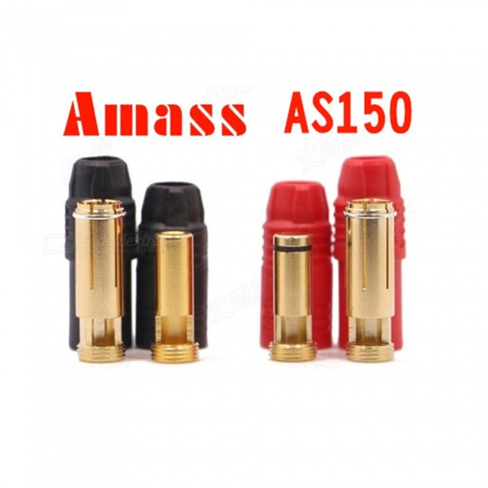2 Sets Amass AS150 Gold Plated 7mm Male/Female Banana Plugs with Housings for High Voltage Battery - Red + Black