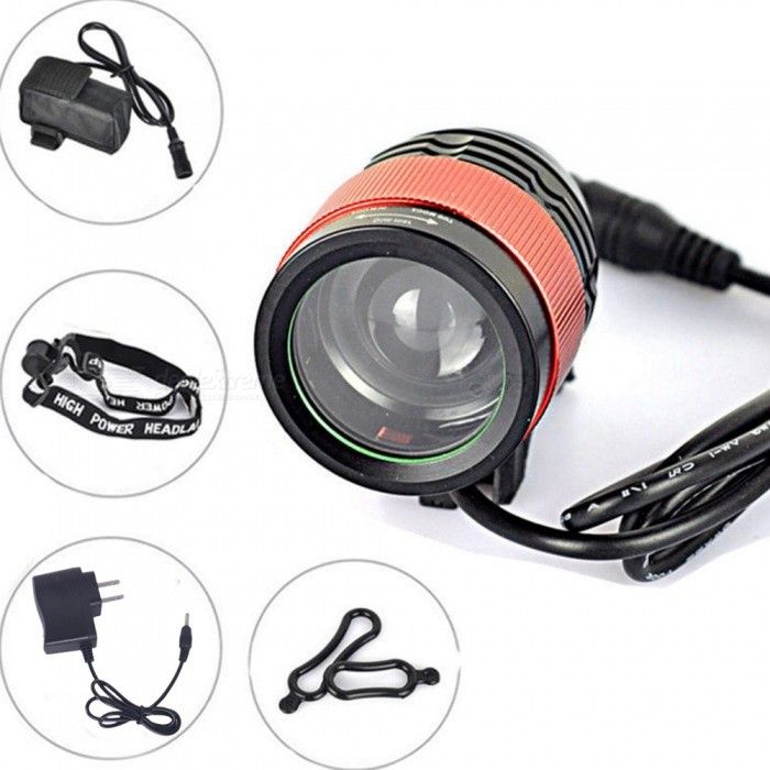 ZHAOYAO LED Zoom T6 Outdoor Riding Long-Range Waterproof Charging Bicycle Headlight with Battery + Charger