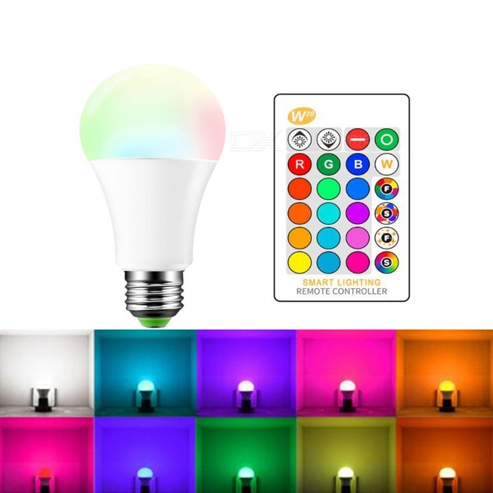 JRLED E27 5W RGB LED Bulb Light RGB Light with Remote Controller AC 90-240V