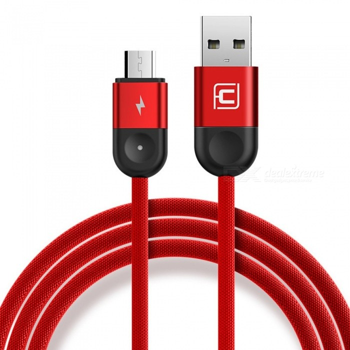 Type C Micro USB-gsm-kabels 1.2M Weave Snellaadkabel Voor Android Apple Iphone Samsung HTC Rood / Micro USB