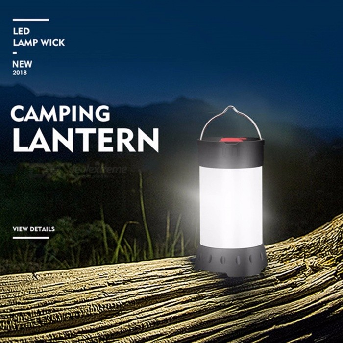 Outdoor 18650 Lithium Battery Powered Emergency Lantern Light, Rechargeable Camping Tent Hanging Light 5W/Black