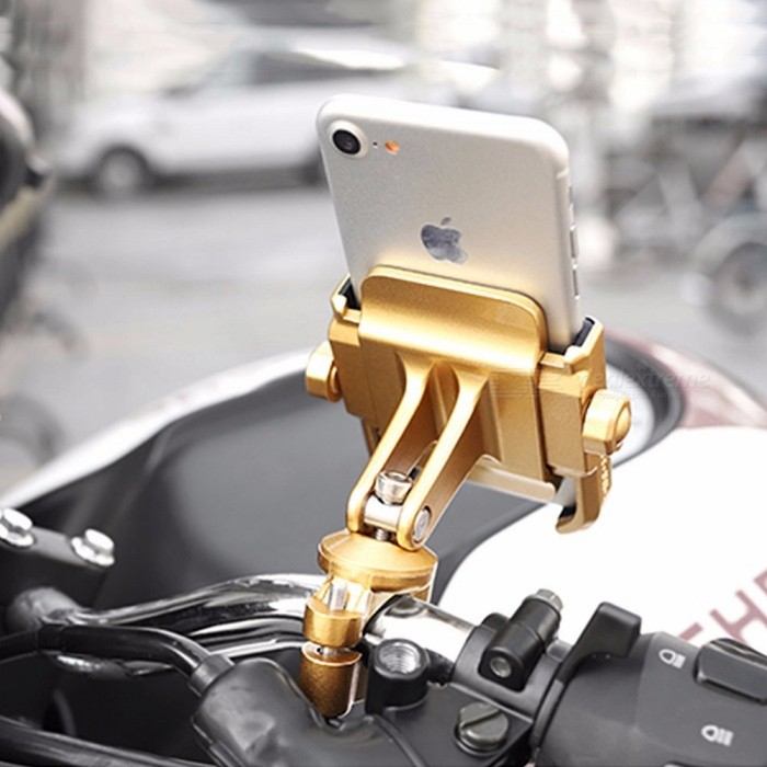 Waterproof USB Charger Motorcycle Cell Phone Handlebar Mount Holder Gold