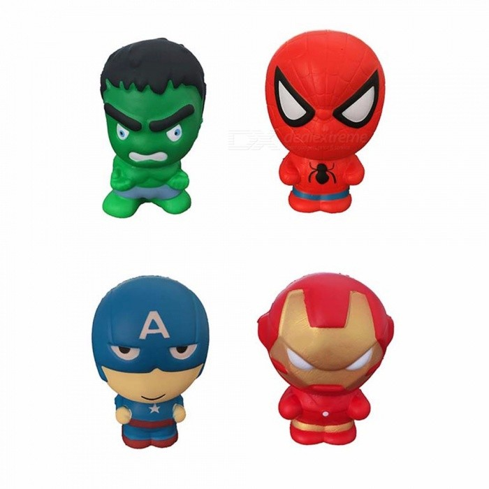 Captain America / Spider-Man / Iron Man PU Squishy Slow Rising Squeeze Toy, Stress Relief Toy For Children Adults
