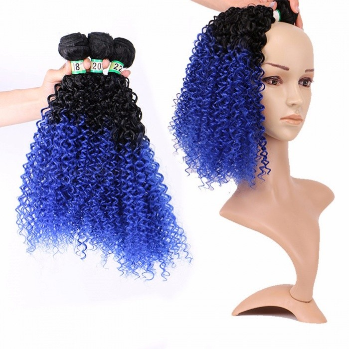 Women-Ombre-Synthetic-Curly-Wigs-Fashion-Curly-African-Hair-Extensions-Wig-Kinky-Curly-T1B-Blue-3-Bundles-Ombre18inches3PcsLot