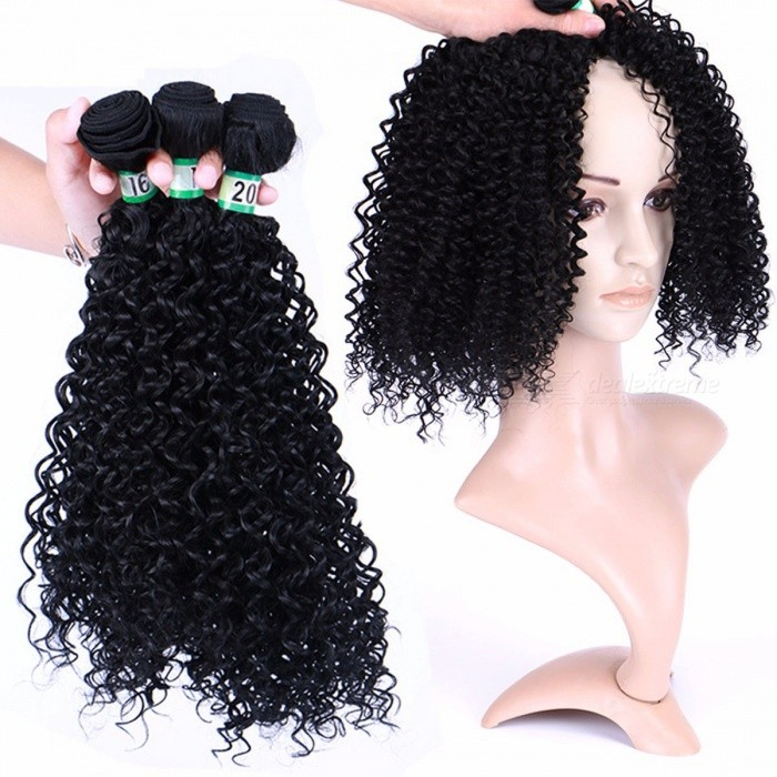 Women-Synthetic-Curly-Wigs-Black-Wig-Fashion-Curly-African-Hair-Extensions-Wig-Kinky-Curly-Nature-Color-3-Bundles-1B8inches3PcsLot