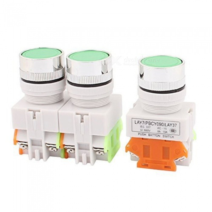 BTOOMET LAY37-11BN Y090 5Pcs Green Round Cap Momentary Push Button Switch, 22mm