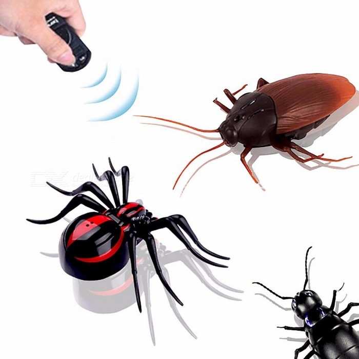 Electric RC Fake Spider Ants Cockroaches Remote Control Insect Creative Electric Animal Prank Toys Tricky Funny Gift Brown