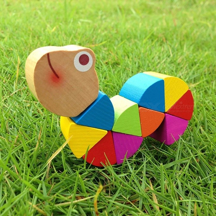 Baby Wooden Toy, Cute Transformable Crocodile Caterpillars Puzzle, Finger Flexible Training Intelligence Educational Toy