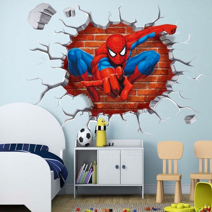 50*50cm Hot 3D Hole Cartoon Movie Spiderman Wall Stickers For Kids Rooms Boys Gifts Through Wall Decal Multi