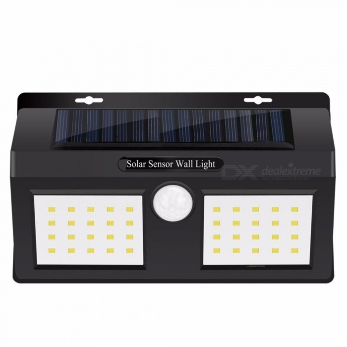 Waterproof Solar Powered Garden Light, Security 40-LED PIR Motion Sensor Wall Lamp, Path Porch Light White/0-5W/Black