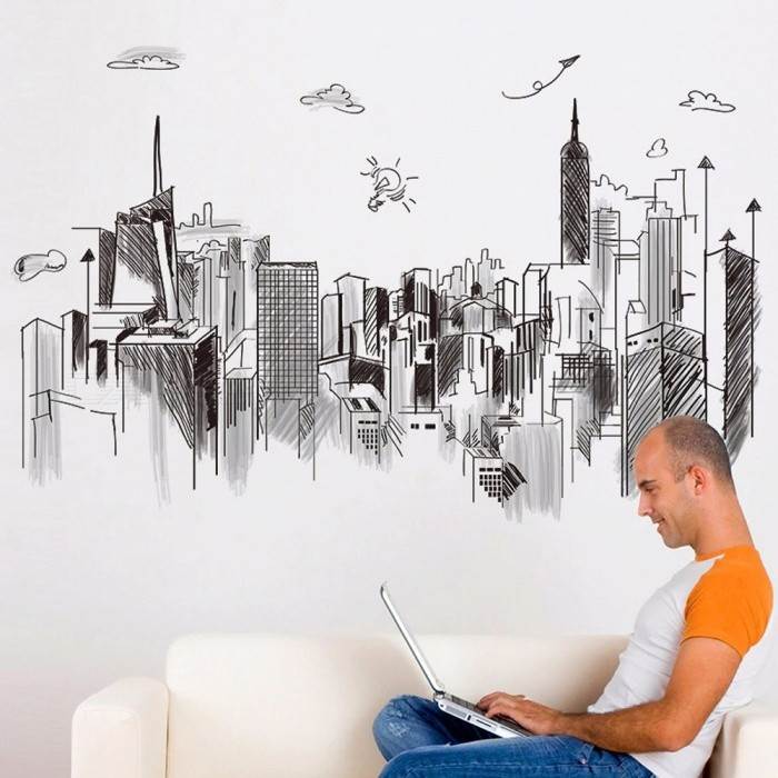 Modern Tall Buildings Wall Stickers PVC DIY Sketch Mural Art Decor For Living Room Company Office Home Decoration