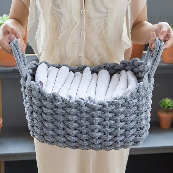 Linen-Crotch-Storage-Baskets-Handmade-Clothes-Laundry-Basket-Natural-Fabric-Baby-Toys-Desktop-Small-Organizer-Box-WhiteL